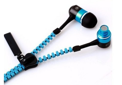 In-ear Zipper Oordopjes Universeel Blauw