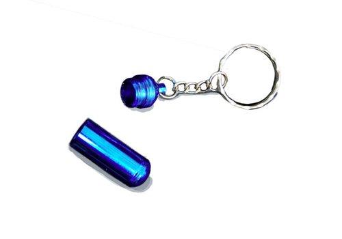 Sleutelhanger Aluminium Pillen Houder Blauw