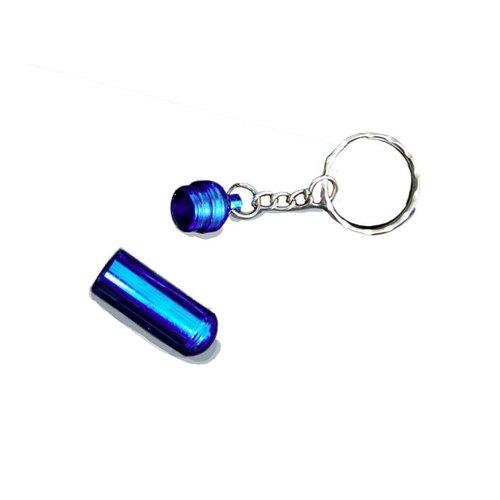 Huismerk Sleutelhanger Aluminium Pillen Houder Blauw