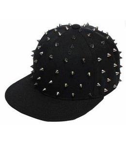Huismerk Spike Baseballcap Snapback Cap Zwart/Zilver