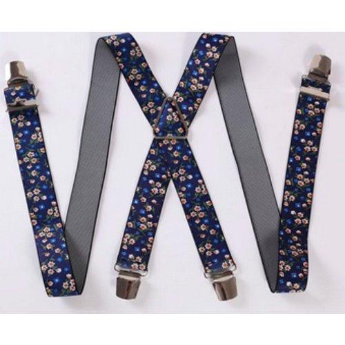 Huismerk Verstelbare Elastische Bretels Bloemetjes Blauw