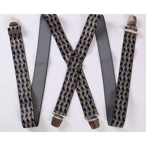 Huismerk Verstelbare Elastische Bretels Bloemetjes Zwart/Wit/Goud