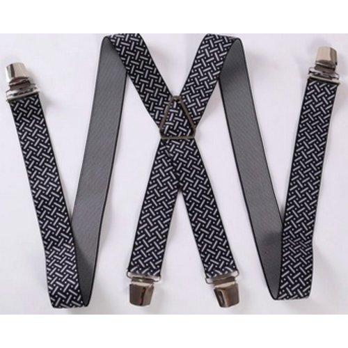 Huismerk Verstelbare Elastische Bretels Streepjes Zwart/Wit