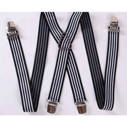 Huismerk Verstelbare Elastische Bretels Strepen Zwart/Wit