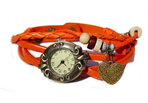 Huismerk Love Harten Armband Horloge Oranje