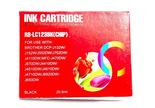 Huismerk Brother LC-123BK Zwart Inktjet cartridge