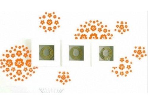Bloem & Vlinder Muursticker Oranje