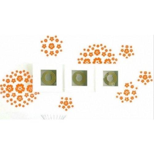 Huismerk Bloem & Vlinder Muursticker Oranje