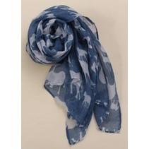 Elephant Print Lange Zachte Wrap Sjaal Blauw/Grijs