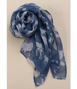 Huismerk Elephant Print Lange Zachte Wrap Sjaal Blauw/Grijs