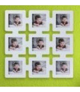 Huismerk 9 Vierkant Foto Frame Wit