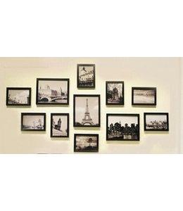 Huismerk Muur Houten Foto Frame 11 stuks Zwart
