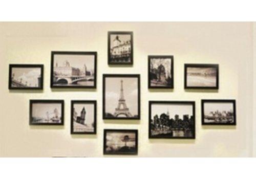 Muur Houten Foto Frame 11 stuks Zwart