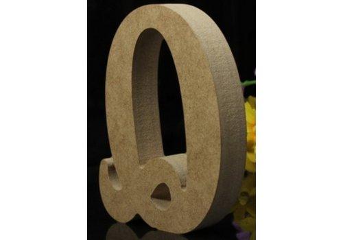 Houten Letter Q 10 x 1,5 cm