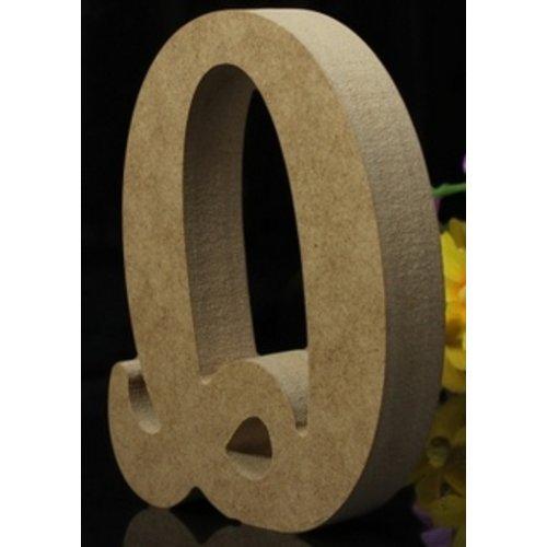 Huismerk Houten Letter Q 10 x 1,5 cm