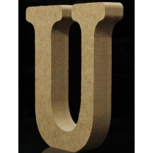 Huismerk Houten Letter U 10 x 1,5 cm