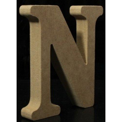 Huismerk Houten Letter N 10 x 1,5 cm