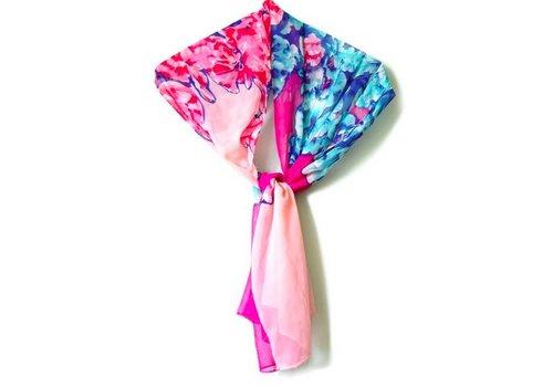 Huismerk Bloemetjes Sjaal Roze/Paars/Blauw