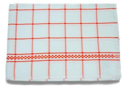 Huismerk Theedoeken 50x70 cm Wit/Oranje