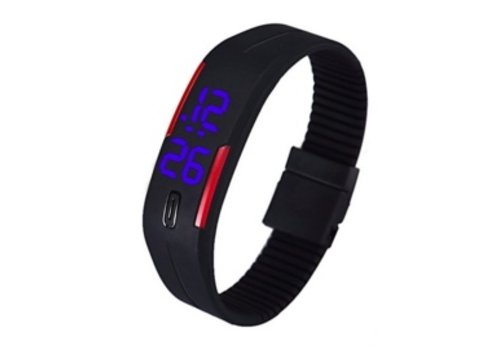 LED Date Sport Rubber Digitaal Horloge Zwart