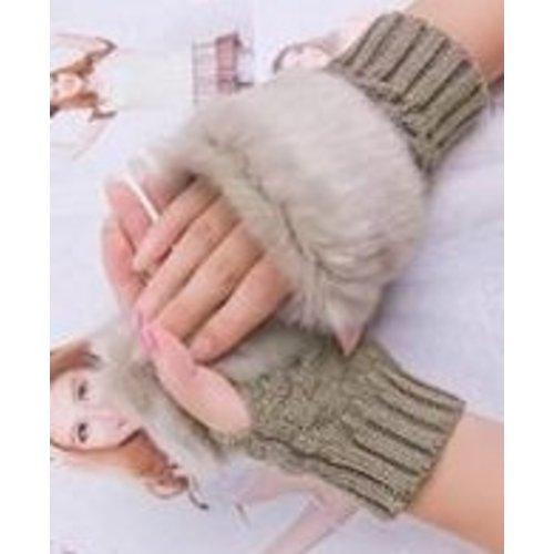 Huismerk Faux Rabbit Handschoenen Bruin