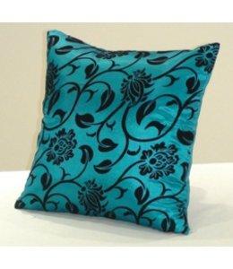 Huismerk Vierkante Sier-Kussenhoes Blauw