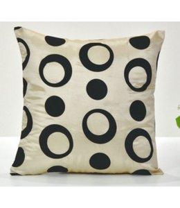 Huismerk Vierkante Sier-Kussenhoes Zwart/Wit