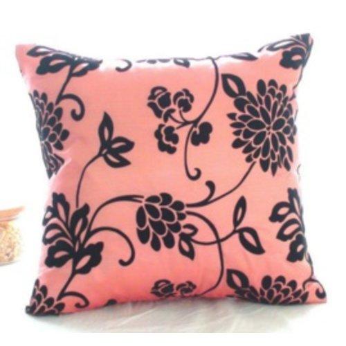 Huismerk Vierkante Sier-Kussenhoes Roze/Zwart