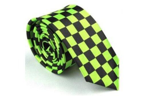 Skinny Slim-Slik Stropdas Vierkant Groen/Zwart