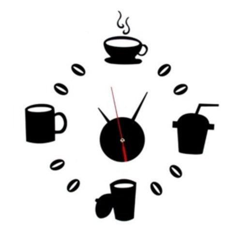 Huismerk Creative Koffie 3D Klok Zwart