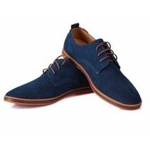 Casual Leren Mannen Schoenen Blauw