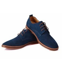Huismerk Casual Leren Mannen Schoenen Blauw