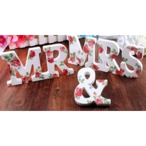 Huismerk Romantische Wood Letters Set Mr & Mrs Rozen