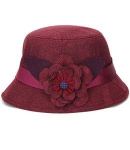 Huismerk Herfst Bloemen Breathable Hoed Bordeaux Rood