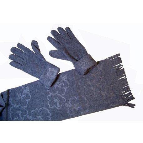 Fleece sjaal met handschoenen (grijs)