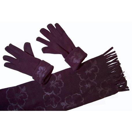 Fleece sjaal met handschoenen (zwart)