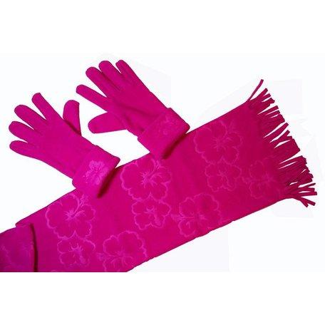 Fleece sjaal met handschoenen (roze)