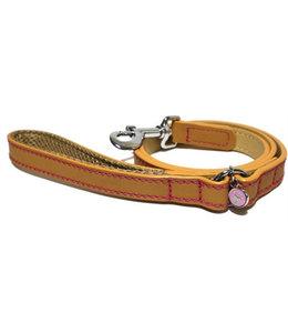 Luxury leather looplijn puppy / kleine hond zand met studs