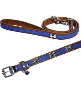 Wag 'n' walk halsband puppy  / kleine hond royal blauw met studs