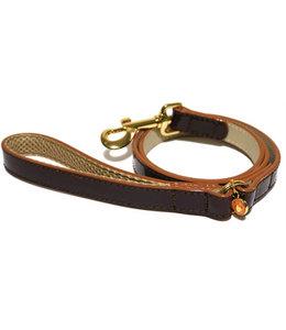 Wag 'n' walk looplijn puppy / kleine hond oxblood bruin met stud