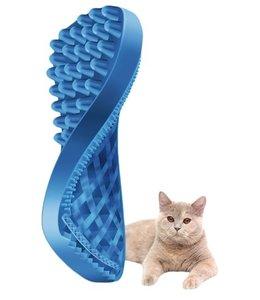 Pet+me kat borstel kort haar blauw