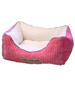 Little rascals sweet dreams bed vierkant ribstof roze