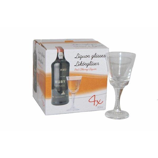 Cognac Rose Likeurglazen 4 stuks 80ml + GRATIS Flesje rose