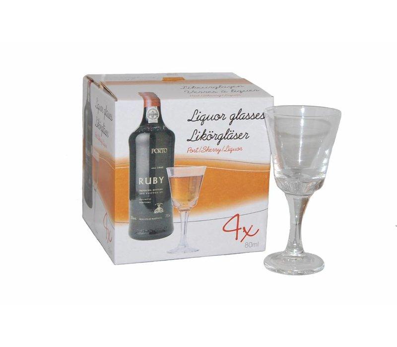 Cognac Likeurglazen 4 stuks 80ml