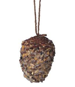Dennenappel met vet en zaden
