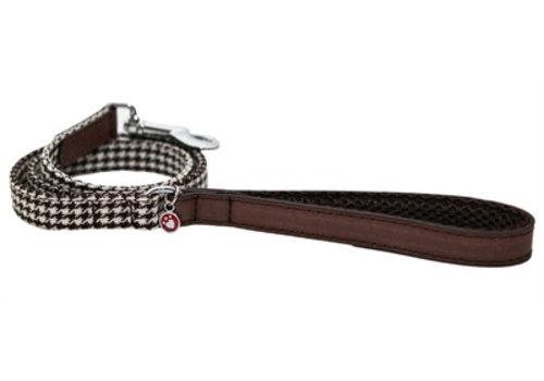 Wag 'n' walk hondenriem houndstooth bruin / wit