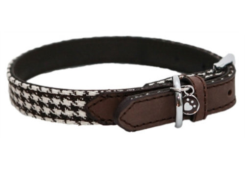 Wag 'n' walk halsband hond houndstooth bruin / wit