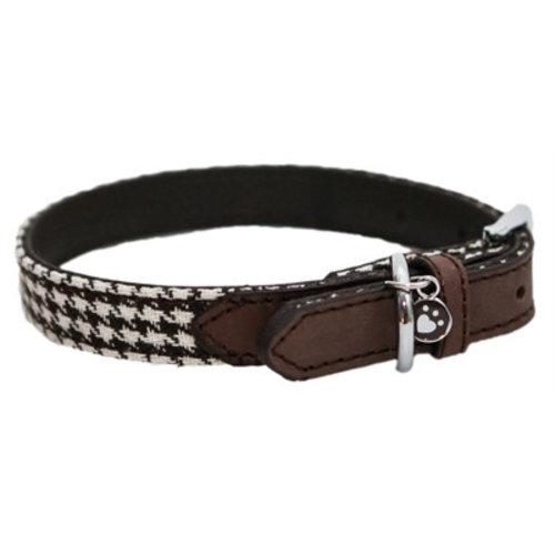 Huismerk Wag 'n' walk halsband hond houndstooth bruin / wit