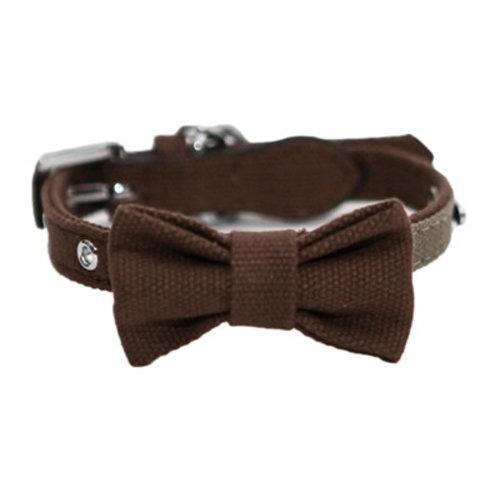 Huismerk Wag 'n' walk halsband hond met strik truffel / taupe