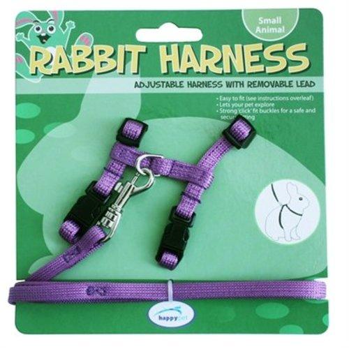 Huismerk Happy pet konijnen harnas en looplijn paars